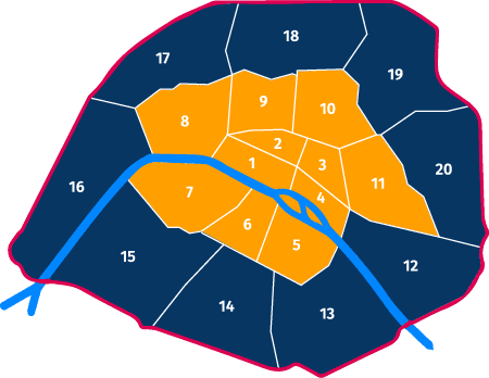 carte des arrondissements de paris